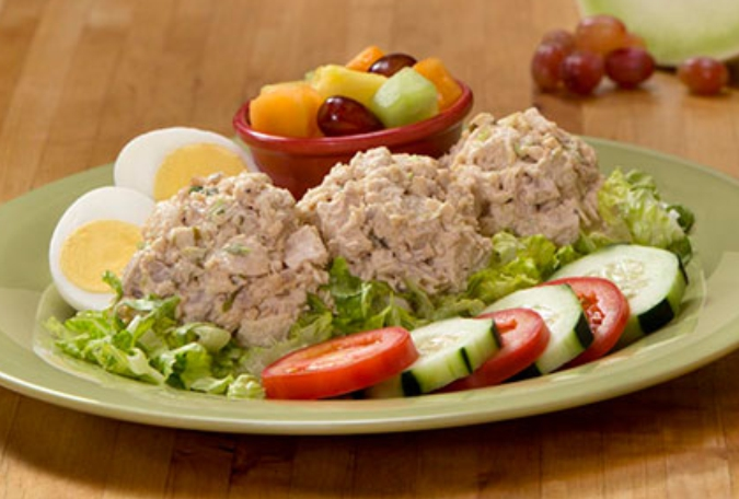 Homemade Chicken Salad Scoop with Fresh Fruit
